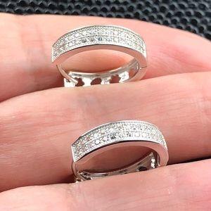 Jewelry - 925 Sterling silver CZ pave hoop earrings